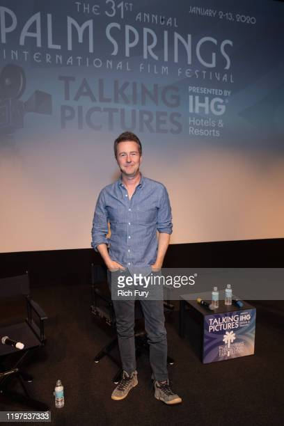 Edward Norton attends the Talking Pictures screening of Motherless Brooklyn during the 31st Annual Palm Springs International Film Festival on...