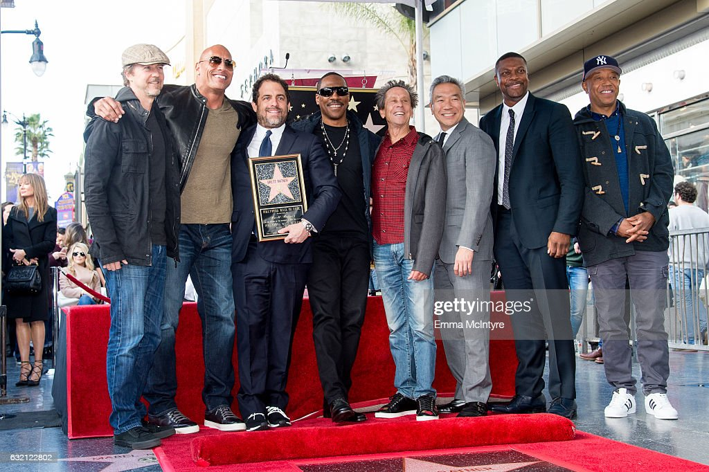 Edward Norton, Dwayne Johnson, Eddie Murphy, Brett Ratner, Brian Grazer, Kevin Tsujihara, Chris Tucker, and Russell Simmons attend the ceremony honoring Brett Ratner with a Star on The Hollywood Walk of Fame on January 19, 2017 in Hollywood, California.