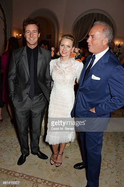 Edward Norton Naomi Watts and Charles Finch attend the annual Charles Finch Filmmakers Dinner during the 67th Cannes Film Festival at Hotel du...