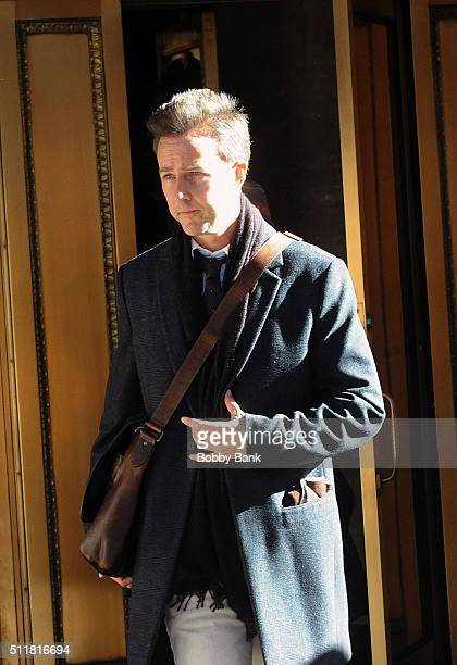 Edward Norton on the set of 'Collateral Beauty' on its first day of filming on February 22 2016 in New York City