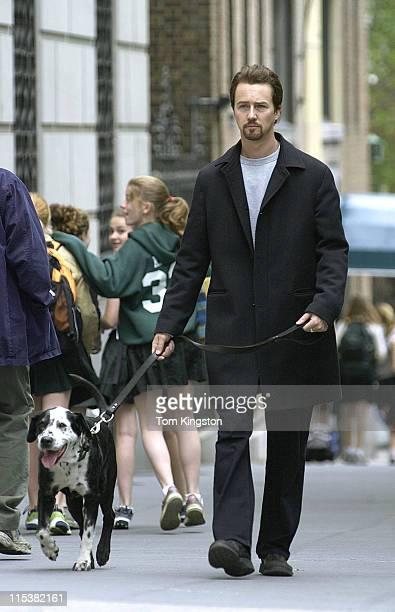 "Edward Norton on the set of ""Twenty Fifth Hour"" in New York City."
