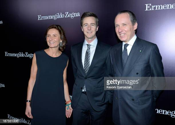 Edward Norton poses with Anne Zegna and Gildo Zegna for the Ermenegildo Zegna Global Store Opening hosted by Gildo Zegna and Stefano Pilati at...