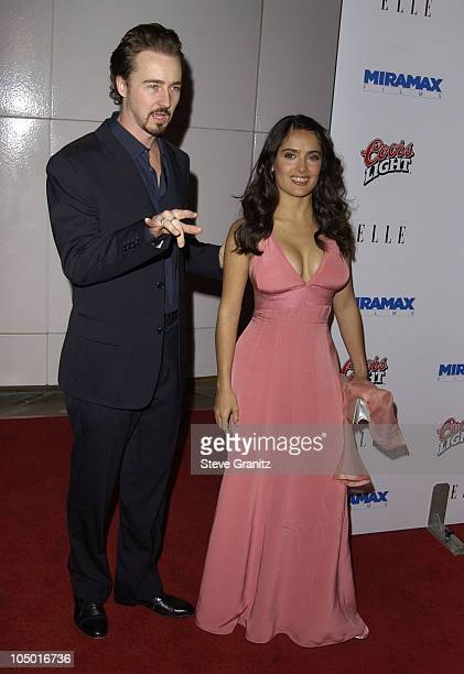 Edward Norton Salma Hayek during 'Frida' Premiere Los Angeles at Los Angleles County Museum of Art in Los Angeles California United States