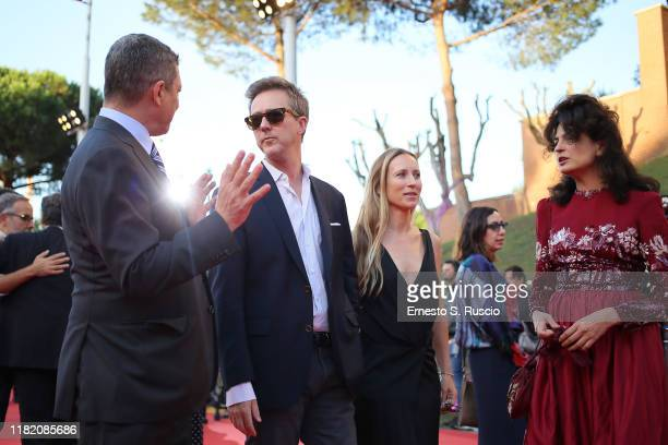 Edward Norton Shauna Robertson and Juman Malouf walk a red carpet during the 14th Rome Film Festival on October 19 2019 in Rome Italy