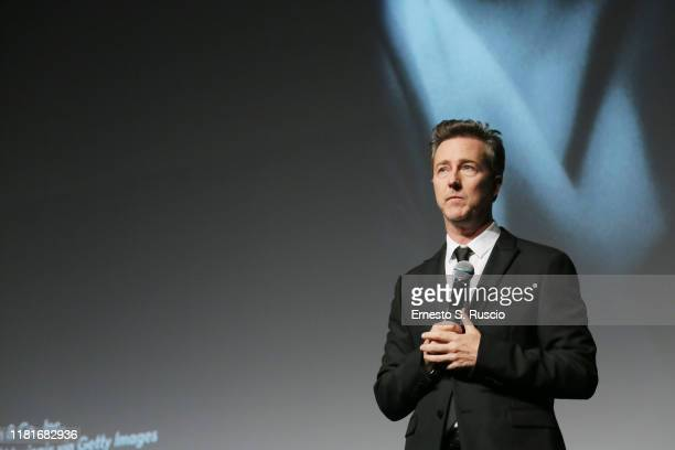 Edward Norton speaks on stage before the Motherless Brooklyn screening during the 14th Rome Film Festival on October 17 2019 in Rome Italy