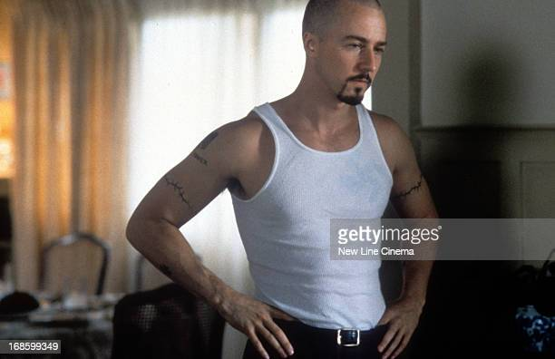 Edward Norton with hands at waist in a scene from the film 'American History X' 1998