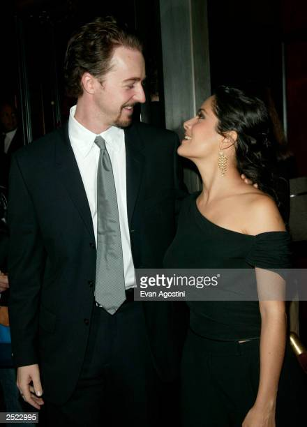 Edward Norton with Salma Hayek arriving at the Red Dragon world premiere at the Ziegfeld Theatre in New York City September 30 2002 Photo by Evan...