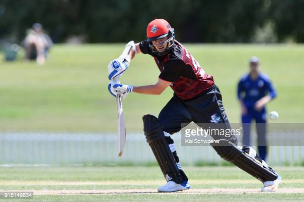 Edward Nuttall of Canterbury bats during the One Day Ford Trophy Cup match between Canterbury and Auckland on February 7 2018 in Christchurch New...