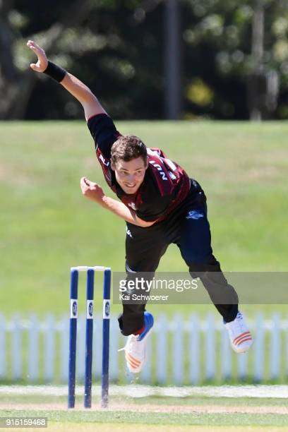 Edward Nuttall of Canterbury bowls during the One Day Ford Trophy Cup match between Canterbury and Auckland on February 7 2018 in Christchurch New...