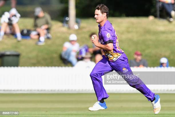 Edward Nuttall of Canterbury runs in to bowl during the Super Smash match between the Canterbury Kings and the Central Stags on December 22 2017 in...