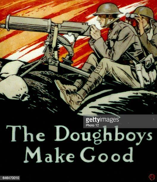 Edward Penfield American school The Doughboys Make Good American soldiers in World War I operating a machine gun on the battlefield Photo12/UIG via...