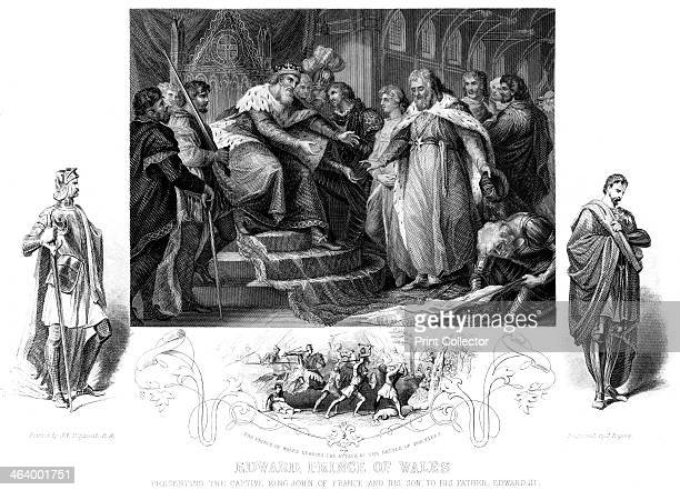 Edward Prince of Wales 19th century Edward presents the captive king John of France and his son to his father Edward III Image also shows the Prince...