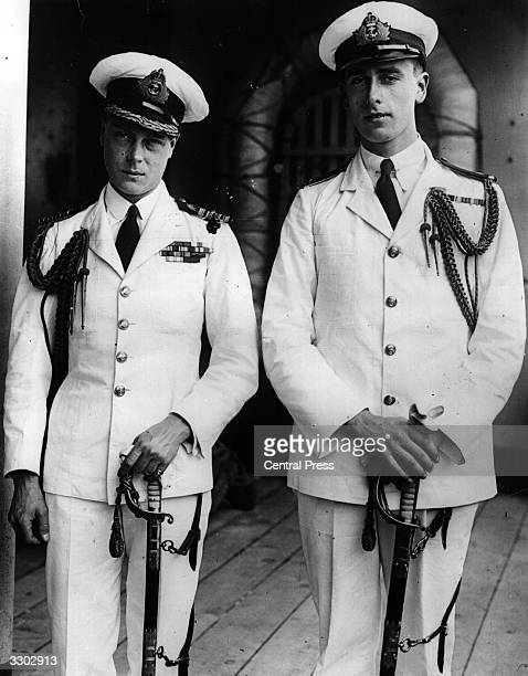 Edward, Prince of Wales and Louis Mountbatten , who later became a British naval commander and statesman, on board the ship 'Renown' during a world...