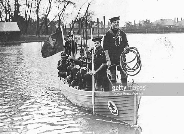Edward Prince of Wales being escorted across the boating lake by Sea Scouts at a Boy Scouts' Rally at Alexandra Palace London October 1922