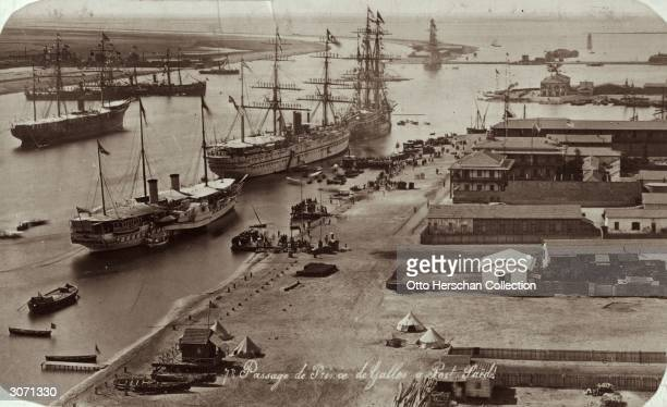 Edward Prince of Wales enters the Suez Canal at Port Said on the royal ship Victoria Albert en route to India