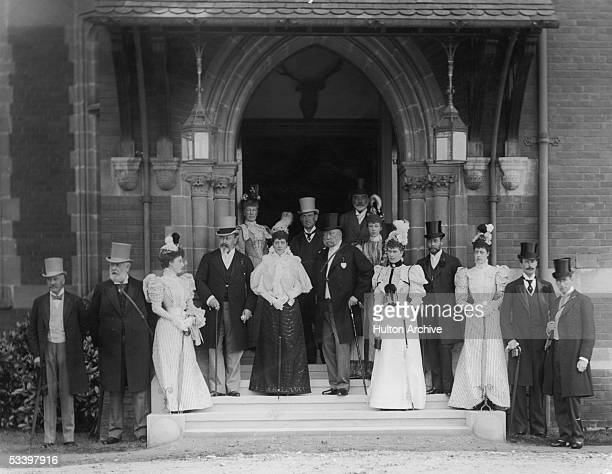 Edward Prince of Wales later King Edward VII of England with the Royal house party for Ascot 1896 Among the group are Alexandra Princess of Wales...