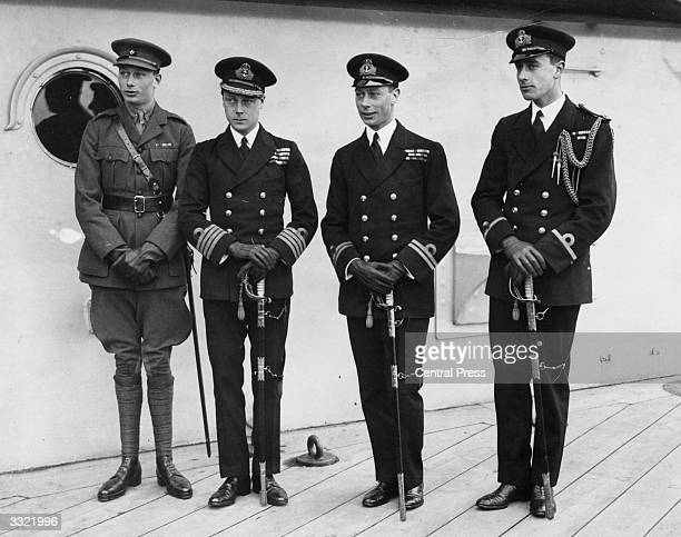 Edward, Prince Of Wales , leaves for Australia. On deck are, from left to right, Duke of Gloucester, Prince of Wales, George Duke of York , and Lord...