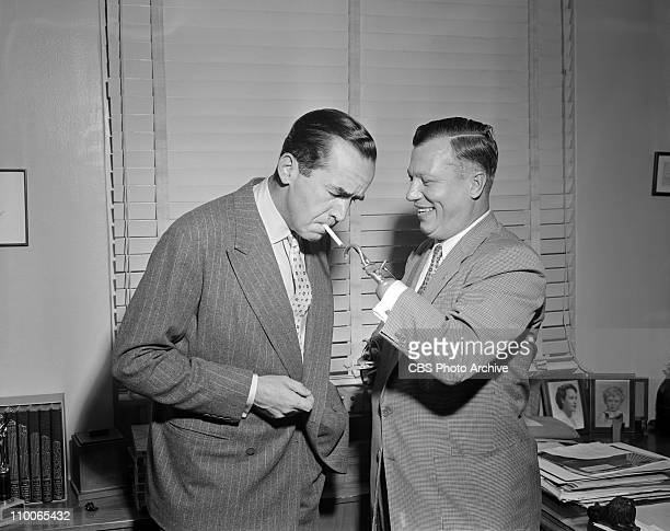 Edward R Murrow and Harold Russell on PERSON TO PERSON Image dated September 30 1955
