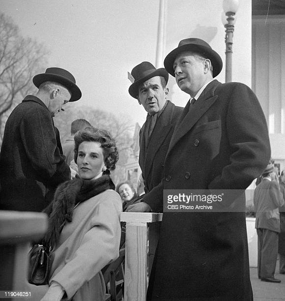 Edward R Murrow center with William Paley right and his wife Barbara Paley at President Dwight D Eisenhower's Inauguration January 20 1953