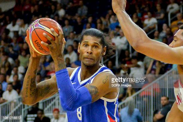 Edward Santana seen in action during the Canada national team vs Dominican Republic national team in the FIBA Basketball World Cup 2019 Qualifiers at...