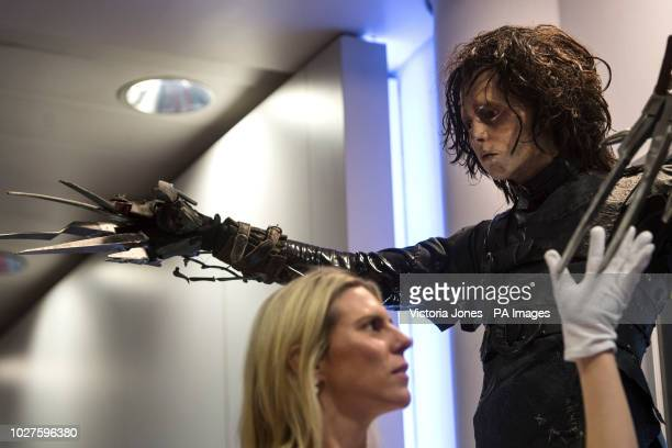 Edward Scissorhands costume display used by Johnny Depp in Edward Scissorhands at the Prop Store film memorabilia exhibition at the BFI IMAX at...