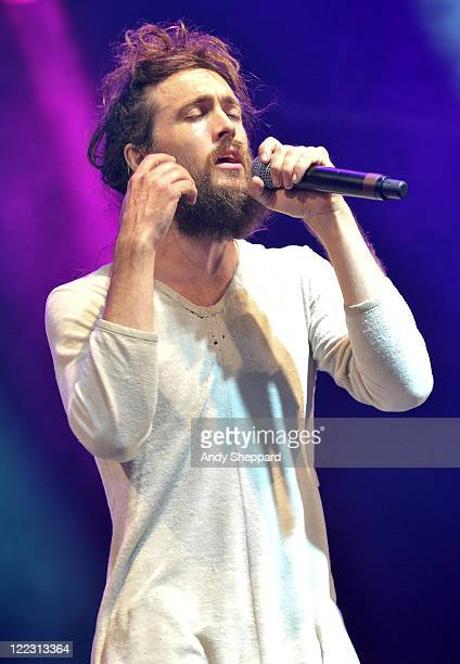 Edward Sharpe of Edward Sharpe & The Magnetic Zeros performs on stage during Day 2 of Reading Festival 2011 at Richfield Avenue on August 27, 2011 in...