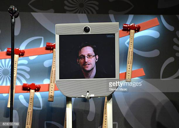 Edward Snowden speaks on stage at Tribeca Disruptive Innovation Awards 2016 Tribeca Film Festival at BMCC John Zuccotti Theater on April 22 2016 in...