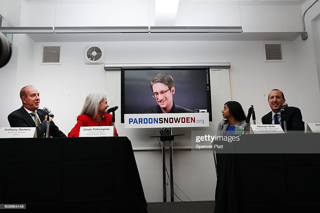 Edward Snowden speaks via video link at a news conference for the launch of a campaign calling for President Obama to pardon him on September 14, 2016 in New York City. The campaign, which includes representatives from the American Civil Liberties Union, Human Rights Watch, Amnesty International and ACLU attorney Ben Wizner, looks to have the whistle blower pardoned from under the Espionage Act.