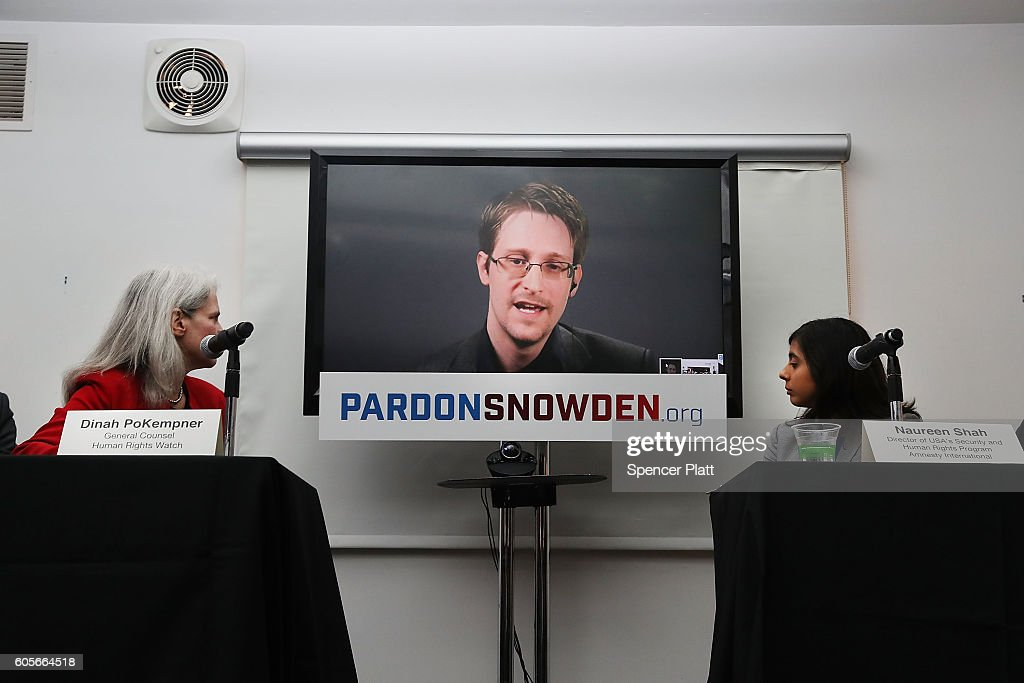 Edward Snowden Speaks Via Video Conference At Launch Of Campaign Calling On Obama To Pardon Him : News Photo