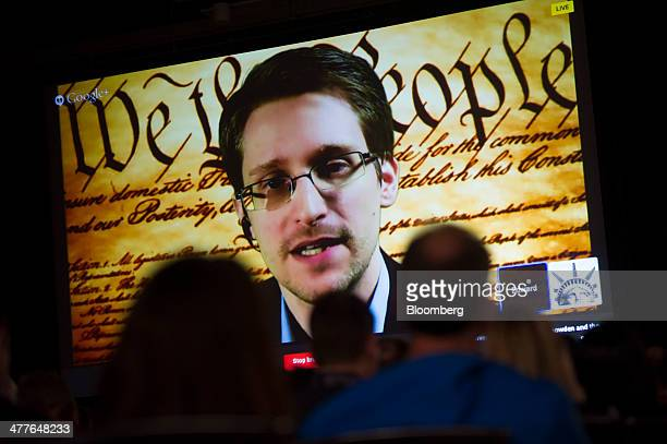 Edward Snowden the former National Security Agency contractor speaks on screen during a virtual conversation at a featured session at the South By...