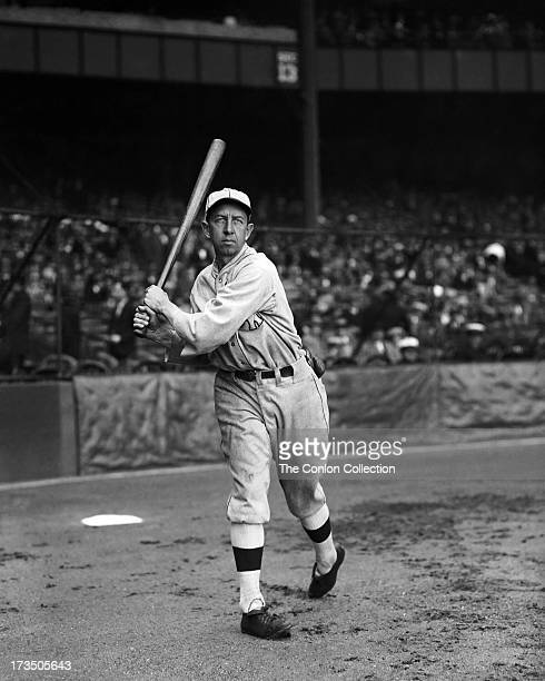 Edward T Collins Sr of the Philadelphia Athletics swinging a bat in1927