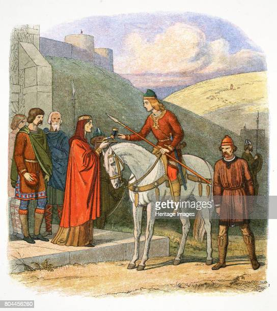 Edward the Martyr arriving at Corfe, Dorset, 978 . King Edward received by his stepmother Elfrida before being murdered at Corfe castle, Dorset on 18...