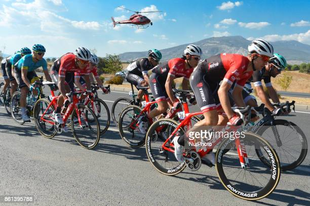 Edward Theuns from Trek-Segafredo Team leads the peloton during the fifth stage - the 166 km Vestel Selcuk to Izmir, the second last stage of the...