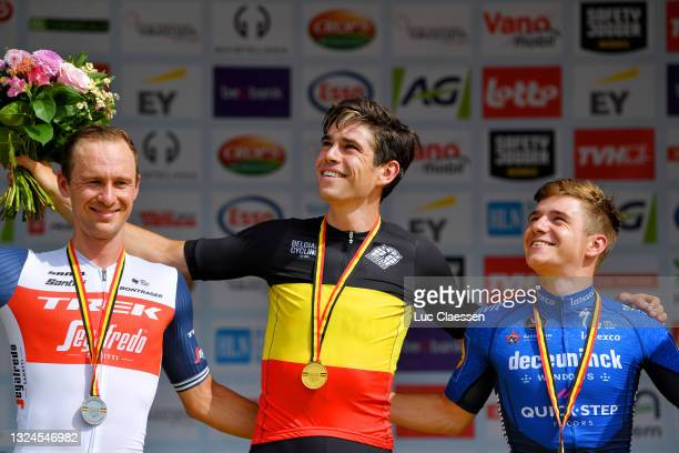 Edward Theuns of Belgium Silver medal, Wout Van Aert of Belgium Gold Medal Belgian Champion Jersey & Remco Evenepoel of Belgium Bronze medal...