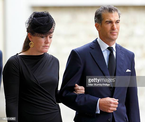 Edward van Cutsem accompanied by his wife Lady Tamara van Cutsem attends a requiem mass for his father Hugh van Cutsem who passed away on September...