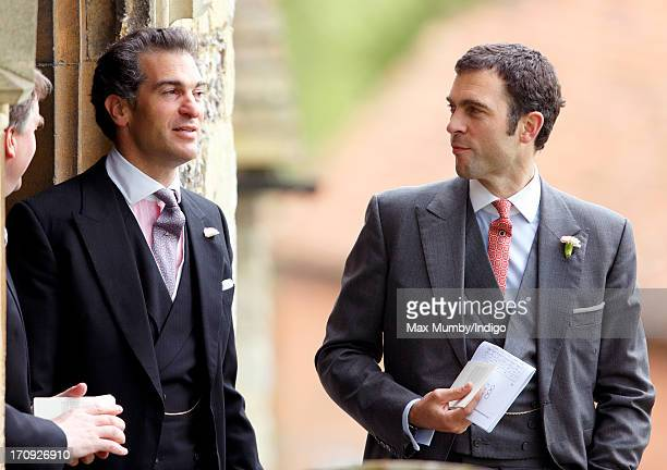 Edward van Cutsem and Hugh van Cutsem attend the wedding of William van Cutsem and Rosie Ruck Keene at the church of St Mary the Virgin in Ewelme on...