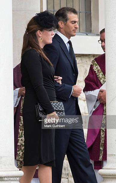 Edward Van Cutsem and Tamara Grosvenor attend a requiem mass for Hugh van Cutsem who passed away on September 2nd 2013 at Brentwood Cathedral on...