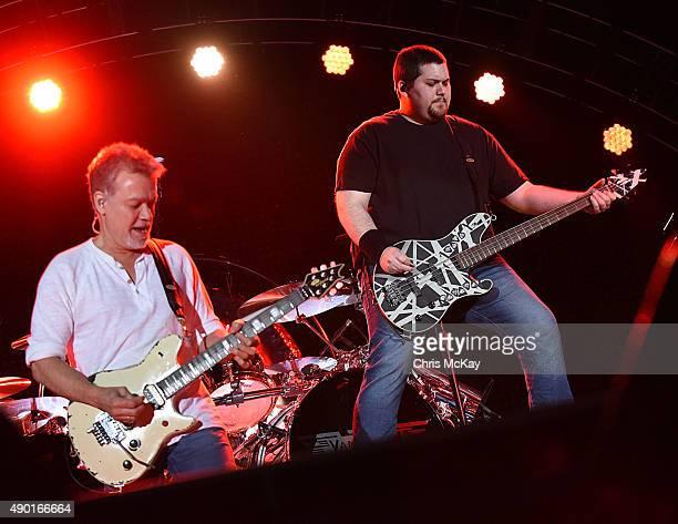 Edward Van Halen and his son Wolfgang Van Halen of Van Halen perform at Music Midtown at Piedmont Park on September 19, 2015 in Atlanta, Georgia.