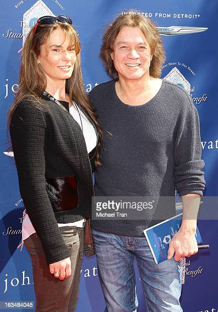Edward Van Halen and Janie Liszewski arrive at The John Varvatos 10th Annual Stuart House Benefit held on March 10 2013 in Los Angeles California