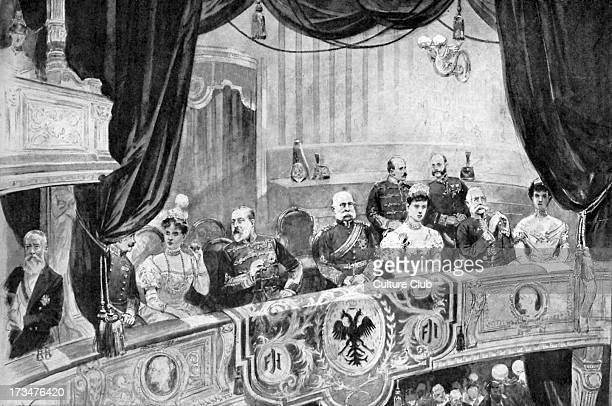 Edward VII and Franz Joseph I of Austria in the opera in Vienna 1 September 1903 From drawing by Edward Cucuel FJ s Emperor of Austria King of...