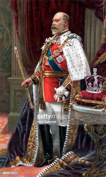 Edward VII in full coronation robes, 1902. Portrait of the king on the occasion of his coronation. Illustration from The Illustrated London News...