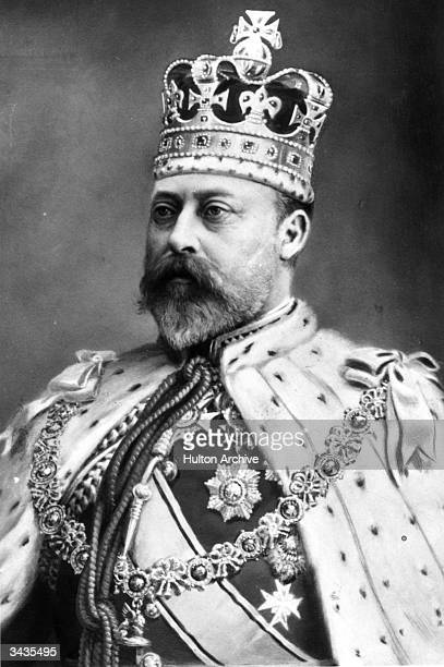 Edward VII King of Great Britain and Emperor of India wearing state robes for his coronation.