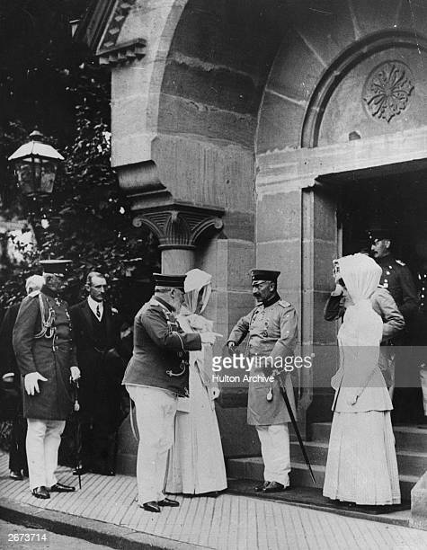 Edward VII king of Great Britain meets William II German Emperor and King of Prussia during a visit to Germany