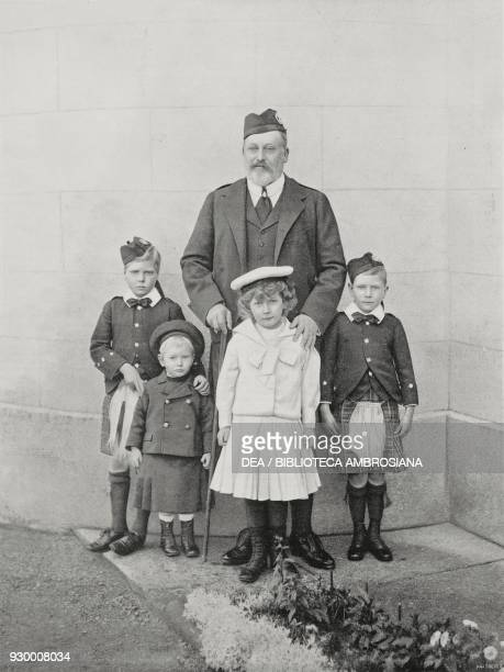 Edward VII of the United Kingdom and his grandchildren photograph by Russell and Sons from L'Illustrazione Italiana Year XXX No 2 January 11 1903