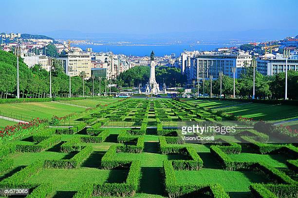 edward vii park, lisbon, portugal, europe - provincie lissabon stockfoto's en -beelden