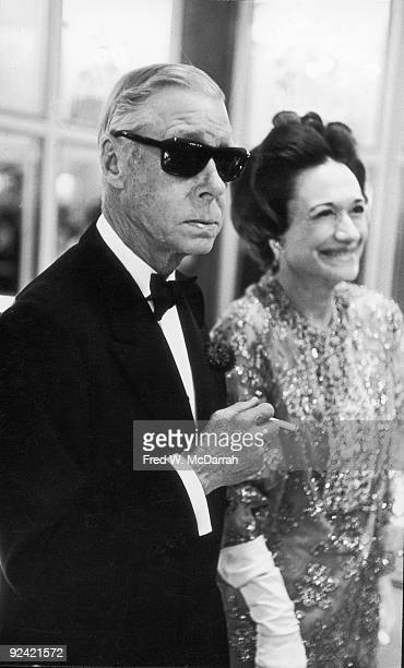 Edward VIII, Duke of Windsor and his wife Wallis, Duchess of Windsor attend the premiere party after a showing of the documentary 'A King's Story,'...