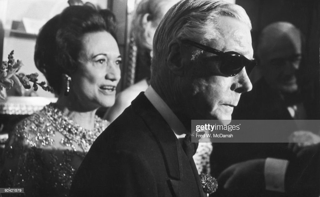 Edward VIII, Duke of Windsor (1894 - 1972) and his wife Wallis, Duchess of Windsor (born Bessie Wallis Warfield, later Spencer and Simpson, 1896 - 1986) attend the premiere party after a showing of the documentary 'A King's Story,' based on his memoirs, New York, New York, May 24, 1967.