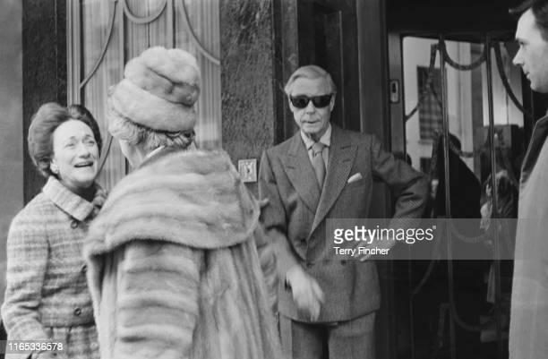 Edward VIII, Duke of Windsor , and Wallis Simpson, Duchess of Windsor , outside a hotel near Regent's Park, London, UK, 24th March 1965.
