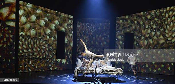Edward Watson as Paul with artists of the company in the Royal Ballet's production of Phillip Glass and Javier De Frutos's Les Enfants Terribles at...