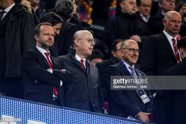 Edward Woodward Chief Executive of Manchester United and Avram Glazer an American businessman, a member of the Glazer family, who own the Tampa Bay...
